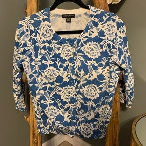 Blue & White Floral Cardigan Sweater Size S